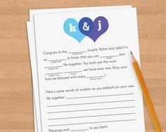 $0.85 ETSY:lindsayleedesign   Wedding adlibs, wedding mad libs, wedding guest book alternative
