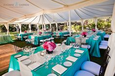What about the reverse? Turquoise runner on white? Maybe every other table to add some color against white pumpkins
