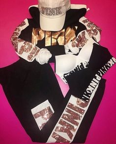 New Victoria's Secret! Shop the look here! #victoriassecret #love #pink #bling #comfy #cute #hat #gold