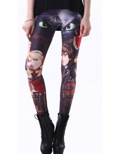 Womens How To Train Your Dragon Character Print Tight Pants Leggings
