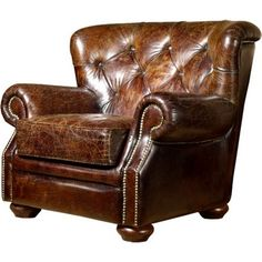 CDI International FA1090BR Butler Recliner Chair in Vintage Brown Leather