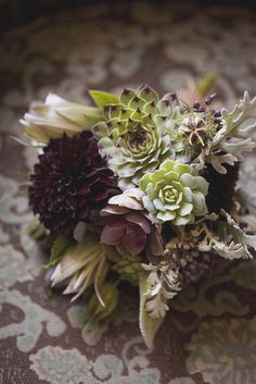 succulents, dark dahlias...lovely fall bouquet