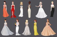 """Oscar Dresses for 2015"" by Steph Lew Art"