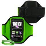Elegant OEM VG Brand (GREEN) Armband with Sweat Resistant Lining for HTC Explorer and HTC Pico Smart Phone + Live * Laugh * Love VanGoddy Wrist Band!!! - Elegant OEM VG Brand (GREEN) Armband with Sweat Resistant Lining for HTC Explorer and HTC Pico S