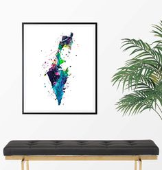 Israel Watercolor Map 2 Art Print Poster Wall Art by ZuzisStudio