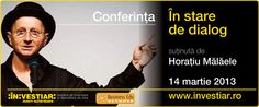 """Conferinta """"In stare de dialog"""" - Horatiu Malaele Romanian Language, Personal And Professional Development, Events, Learning, Business, Studying, Teaching, Business Illustration, Education"""