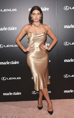 Dannii Minogue in slip beige silk dress with cowl neck Silk Satin Dress, Silky Dress, Satin Dresses, Gowns, Mini Frock, Actrices Sexy, Dress Vestidos, Bollywood, Dress Skirt