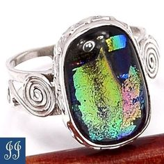 S8 5 Bali Jewel Beautiful Dichroic Glass 925 Sterling Silver Ring Size 8 5   eBay