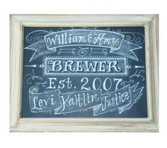 chalkboard art name established | Holiday Gift : Family Name Chalkboard Art Sign | The Watermelon Stand