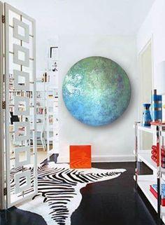 Large Blue Glass Circle Modern Damask Mosaic Art Decor
