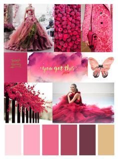 """it's FRIDAY, so let me remind you - YOU GOT THIS!"" by mara-wink ❤ liked on Polyvore featuring art, Pink, red, ballgown, ShadesOfPink and yougotthis"