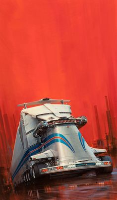 """John Berkey, probably second to Syd Mead for iconic sci-fi art of the 20th century. Pretty much all of the new generation digital space art owes a lot to his loose indicative style. Berkey worked with a multi-mirror setup over his drawing surface so he could quickly see the ""far read"" of his work while he worked closely on detail. This appears to be a giant Martini liveried transport."""