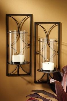 Transitional Iron Hurricane Wall Candle Sconce Set By San Miguel