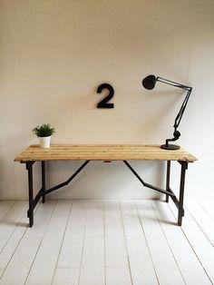 Vintage 1950s Trestle Desk / Folding Table Solid Wood (etsy)