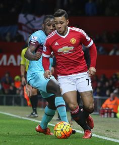 Memphis Depay of Manchester United in action during the Barclays Premier League match between Manchester United and West Ham United at Old Trafford...