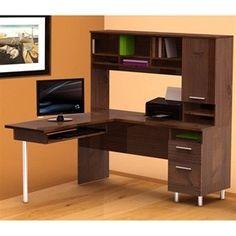 Nexera Aero Lite L-Shape Desk w Hutch in Truffle Finish