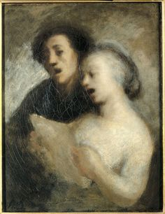 ♪ The Musical Arts ♪ music musician paintings - Honoré Daumier - Singers. 1860