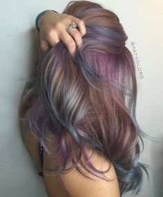 50 Great Ideas Of Purple Highlights In Brown Hair January 2019 inside 48 Colorf. - - 50 Great Ideas Of Purple Highlights In Brown Hair January 2019 inside 48 Colorful Dusty Lilac Hair. Purple Brown Hair, Purple Hair Highlights, Brown Blonde Hair, Light Brown Hair, Brown Hair Colors, Dusty Purple, Brown Hair With Purple Highlights, Coloured Highlights, Rainbow Highlights