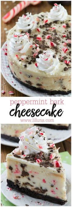Peppermint Bark Cheesecake - It has three delicious layer-Oreo crust, creamy cheesecake filling loaded with peppermint bark pieces and white chocolate ganache on top garnished with crushed candy canes, whipped cream and chocolate. A great holiday dessert! Holiday Baking, Christmas Desserts, Christmas Treats, Christmas Baking, Christmas Parties, Christmas Time, Thanksgiving Sides, Christmas Foods, Thanksgiving Desserts