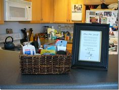 Good list of what to put in a bathroom basket for the reception