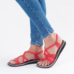 Amazon.com | Plaka Sandals, Jeans, Red, Size 11, Palm Leaf | Flats