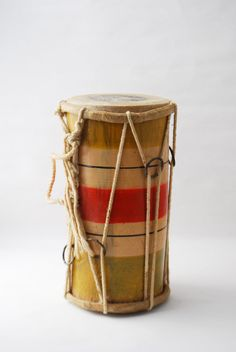 Vintage Primitive Drum - Double Ended Bongo, Tribal Drums, Bamboo Bongo, Children's Instrument, Vintage Instrument