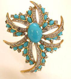 Jomaz Turquoise Glass Cab Brooch Rhinestone Pin by JoolsGalore