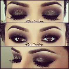 Smokey with Glitter. This is pretty. I wouldn't wear this much makeup, but it's pretty.