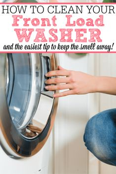 This is full of great tips for how to clean your front load washer. Plus the one EASIEST tip to keep it from smelling again! Get rid of the bad smell forever. Deep Cleaning Tips, House Cleaning Tips, Diy Cleaning Products, Cleaning Solutions, Spring Cleaning, Cleaning Hacks, Homemade Toilet Cleaner, Cleaning Painted Walls, Front Load Washer