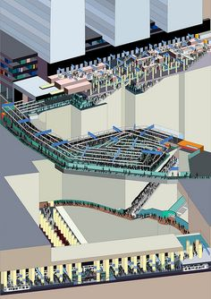 Exploded axonometric view of the Xizhimen metro transfer station, Beijing (by Li Han)