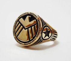 Brass Shield ring captain america ring /Iron Man ring Style Heavy Biker Harley Rocker Men's Jewelry (BR-027)