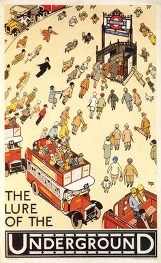 Vintage London Underground Poster The people appear to be flying toward the portal to the Underground.