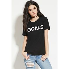 Forever 21 Women's  Goals Graphic Tee ($8.90) via Polyvore featuring tops, t-shirts, graphic design t shirts, graphic t shirts, forever 21, graphic print t shirts and forever 21 tops