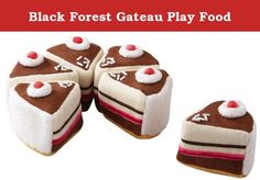 Black Forest Gateau Play Food. A delicious Black Forest Gateau to be shared between friends is just what you've been waiting for. This is a perfect addition to your childs play food collection. Cake comes in 6 pieces for sharing with guests.