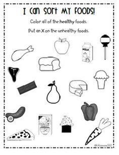 """Worksheet, """"I Can Sort My Foods"""""""