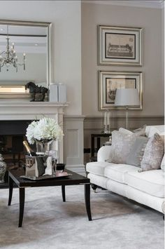Living Tv, French Living Rooms, French Country Living Room, Coastal Living Rooms, Elegant Living Room, Country Bedrooms, Cream Living Room Decor, Living Room Grey, Living Room Interior