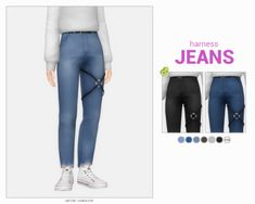 harness jeans and cut-off jeans by casteru The Sims 4 Pc, Sims 4 Teen, Sims 4 Mm Cc, Sims Four, Sims 4 Cas, Sims 4 Men Clothing, Sims 4 Male Clothes, Sims4 Clothes, Sims 4 Cc Packs