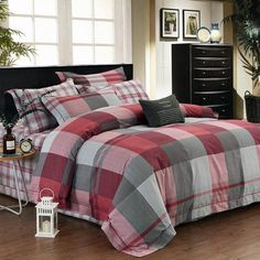 Super Bedroom Black And White Red Bedding Ideas Red Bedding Sets, Grey Bedding, Luxury Bedding, Kids Bedroom Sets, Small Room Bedroom, Trendy Bedroom, Childrens Bedroom, Bedroom Black, Bedroom Green