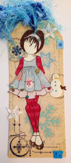 Prima - Julie Nutting stamp - Doll with Ruffle Dress. I like how the doll is wearing tights and longs sleeves, or is it a bodysuit?