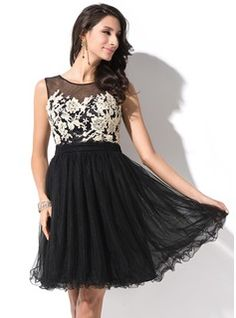Vestidos princesa/ Formato A Decote redondo Curto/Mini Tule Vestido de boas vindas com Apliques de Renda Curvado