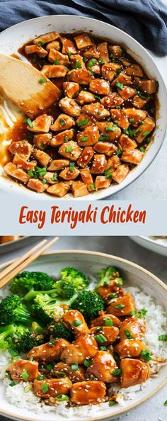 This Teriyaki Chicken recipe will quickly become a new love! In this one pan recipe, bite-size chicken breasts pieces are sautéed in a skillet then coated with an easy and perfect teriyaki sauce. #chickenteryaki