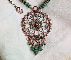 Copper Wire Wrapped Turquoise Necklace Filigree Medallion MaAnshan - so pretty by newmanck