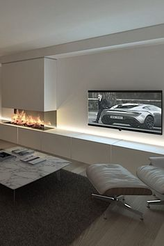 23 Best Modern TV Units Design for Living Room - # for . - 23 Best Modern TV Units Design for Living Room – room - Home Fireplace, Modern Fireplace, Living Room With Fireplace, Fireplace Design, Fireplace Hearth, Slate Fireplace, Fireplace Lighting, Fireplace Ideas, Farmhouse Fireplace