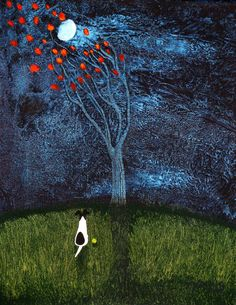 Smooth Fox Terrier Dog BLOWING LEAVES Folk Art by ToddYoungArt, $19.95