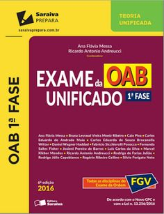 Materiais para Concursos Público: LIVRO: EXAME DA OAB UNIFICADO 1ª FASE - 2016