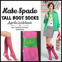 KATE SPADE Tall SOCKS Knee Highs  NEW WITH TAGS   Kate Spade Tall Knee High Boot Socks  * Super soft & comfortable fabric * Opaque Knit construction (not sheer). * Stretch-to-fit * One size fits most; Pull on & to the knee style  Fabric: 67% Cotton, 31% Polyester & 2% spandex; Machine wash Item:91300 Color: Pink & Red Stripes combo  No Trades ✅Bundle Discounts✅ kate spade Accessories Hosiery & Socks