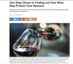 Researchers are finding new clues on why compounds from red wine contribute to the prevention of neuronal death. Neurons, First Step, Red Wine, Closer, How To Find Out, Alcoholic Drinks, Death, Nerve Cells, Liquor Drinks