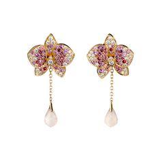 Caresse d'orchidées par Cartier earrings - Pink gold, diamonds, coloured stones - Fine Earrings for women - Cartier