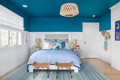 Bold, Blue Guest Room | HGTV >> http://www.hgtv.com/design-blog/shows/tour-the-diy-network-blog-cabin?soc=pinterest