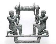 Plaque with two male figures supporting a roller  Period:Old Babylonian Date:ca. 2000–1600 B.C. Geography:Mesopotamia Culture:Babylonian Medium:Bronze Dimensions:4 x 4 1/8 in. (10.2 x 10.5 cm)